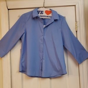 Foxcroft 3/4 Sleeve Shaped Solid Blouse SZ 14